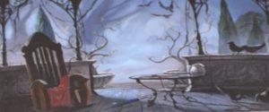 Bild: Schaukelstuhl mit Tisch im Freien