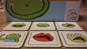 Bild: Spielkarten Froschgesichter mit verschiedenen Gesichtsausdrucken