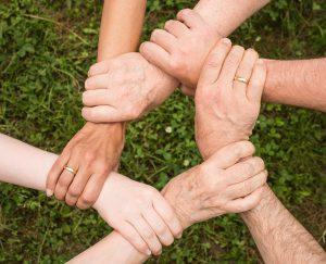 Bild: mehrere Arme und Hände die ineinander greifen