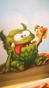 Bild: Deckel-Innenseite mit aufgedrucktem Monster
