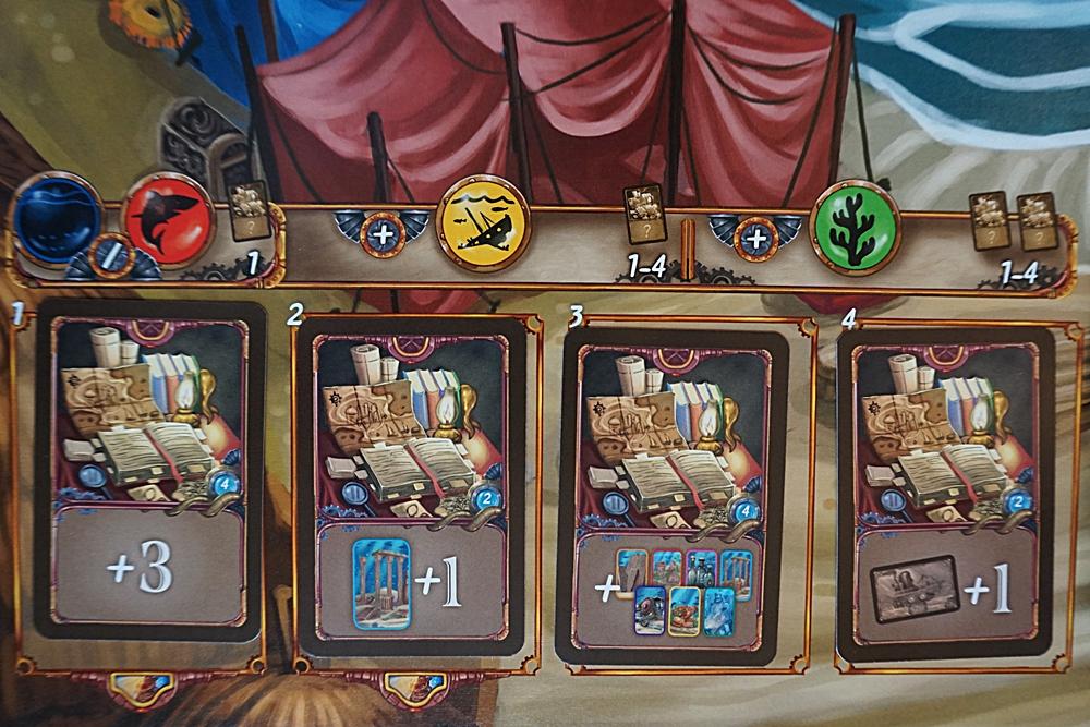 Der Ort zum Kauf der Bonuskarten. Mehrere sind gezeigt und die Symbole, welche man beim Kauf abgeben muss.