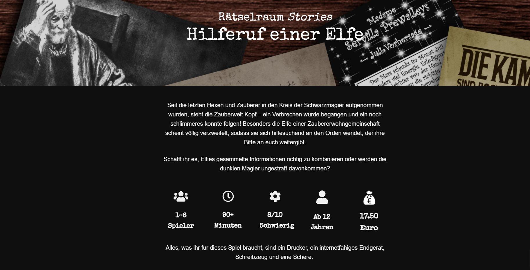 """Startbildschirm von """"Hilferuf einer Elfe"""" mit den Spielparametern"""