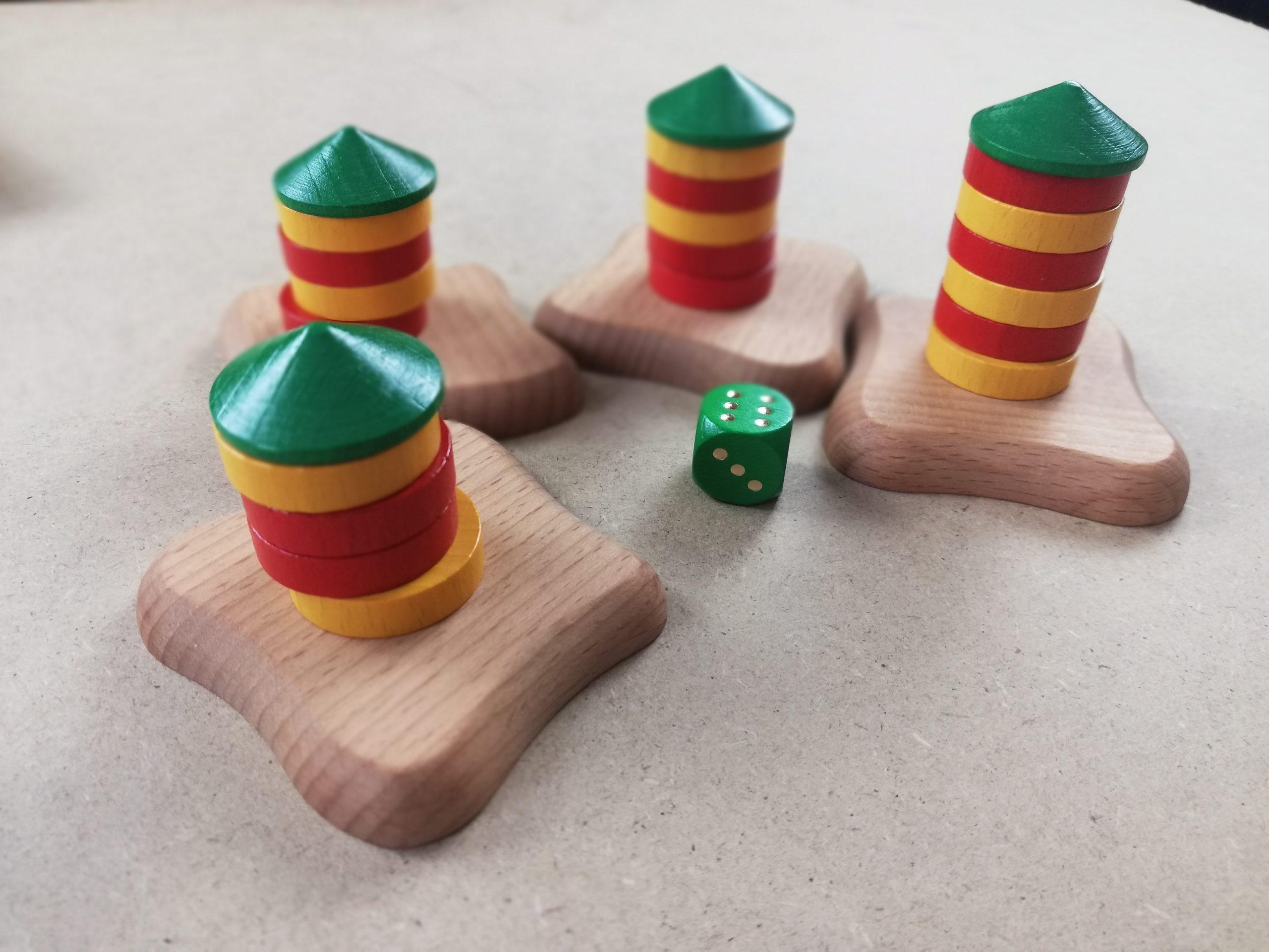 Wertung: Basis 1 Punkt, Dach 3 Punkte, Scheibenpärchen 23 Punkte, Einzelscheiben 1 Punkt, kein Dach -2 Punkte