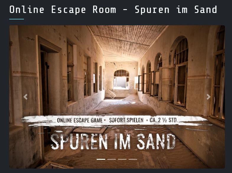 Blick auf die Homepage von 4Walls Escape
