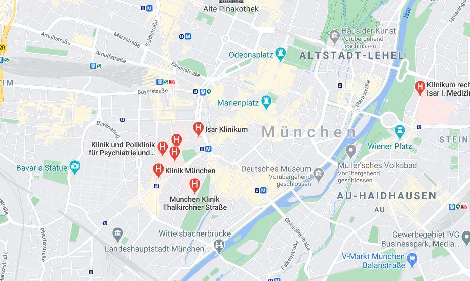 Eine Karte zeigt die Innenstadt Münchens