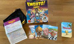 Zu sehen ist das Spielmaterial sowie die Verpackung von Emojito Party