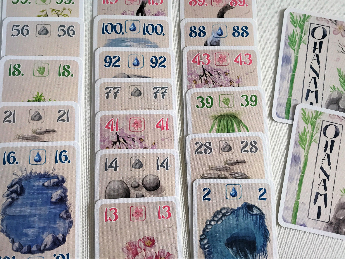 Die drei Kartenreihen entsprechen den drei Gärten