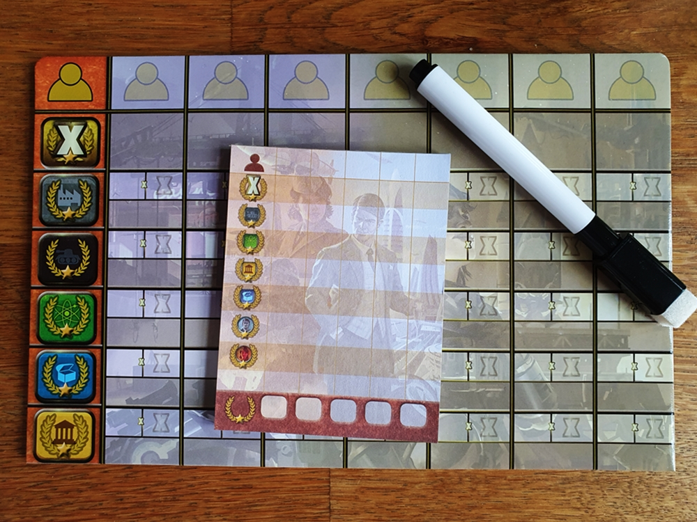 Wertungstafel, darauf der kleinere Wertungsblock aus dem Grundspiel