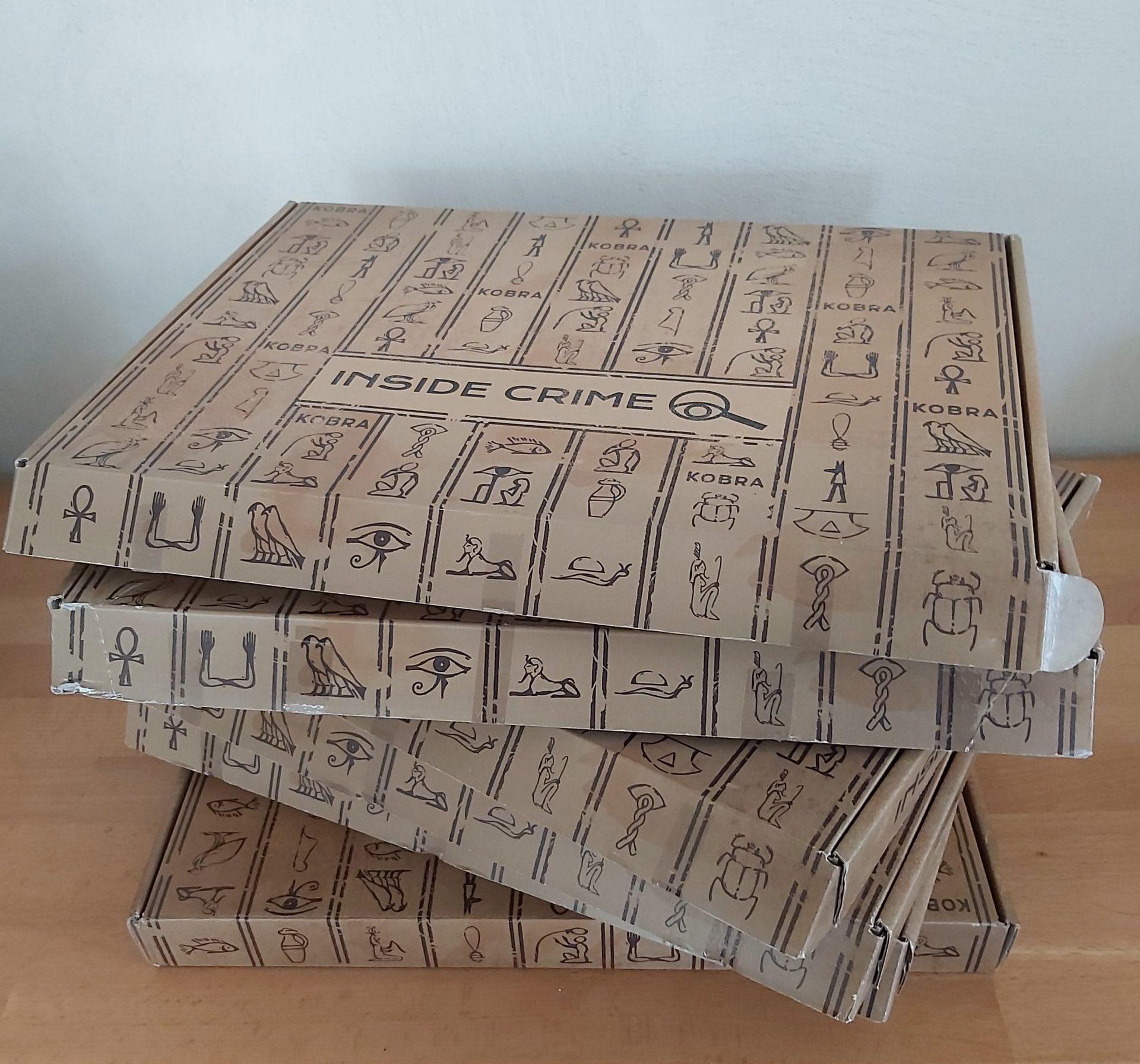 Zu sehen sind die 6 Spielboxen von Inside Crime.