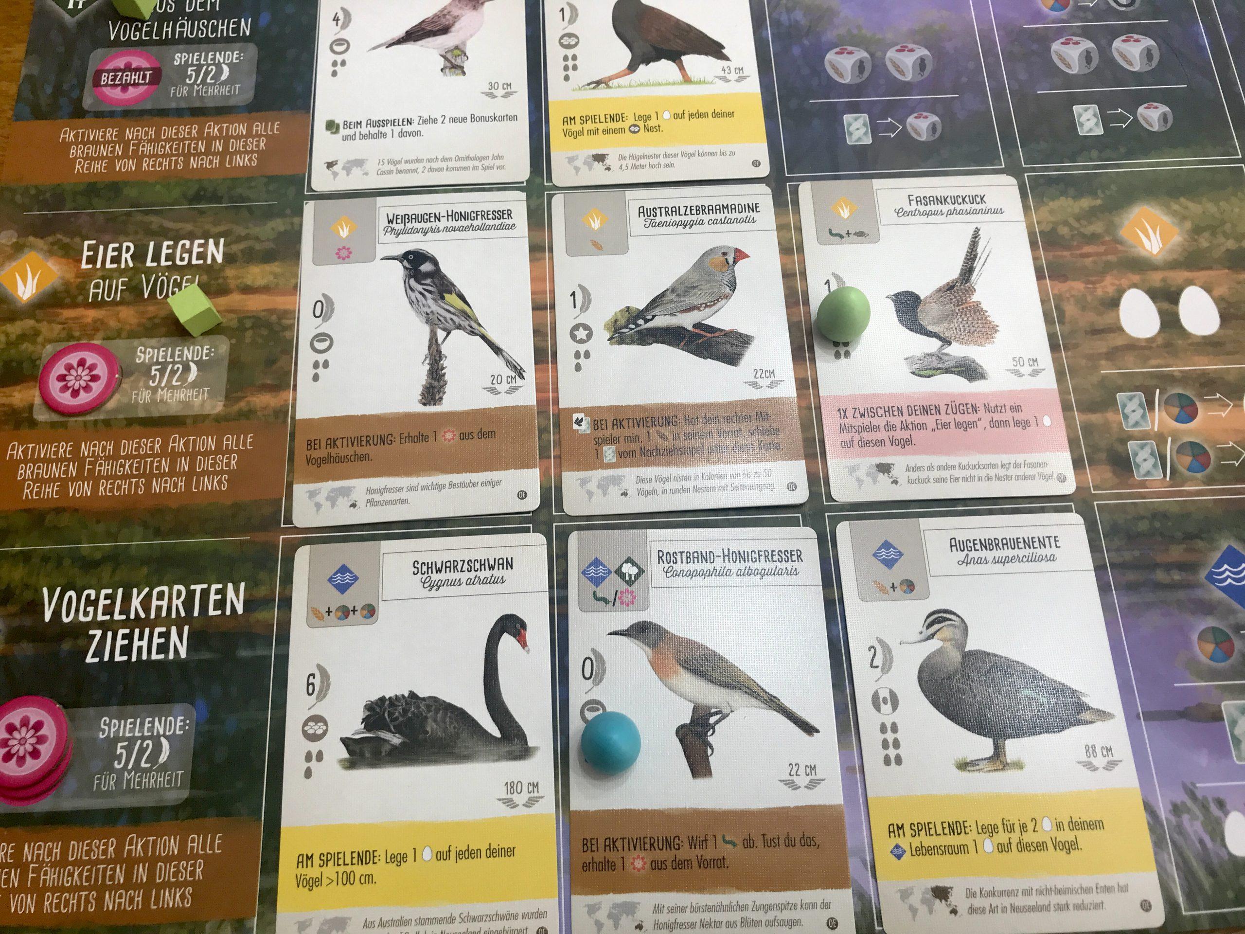 8 neue Karten liegen aus.
