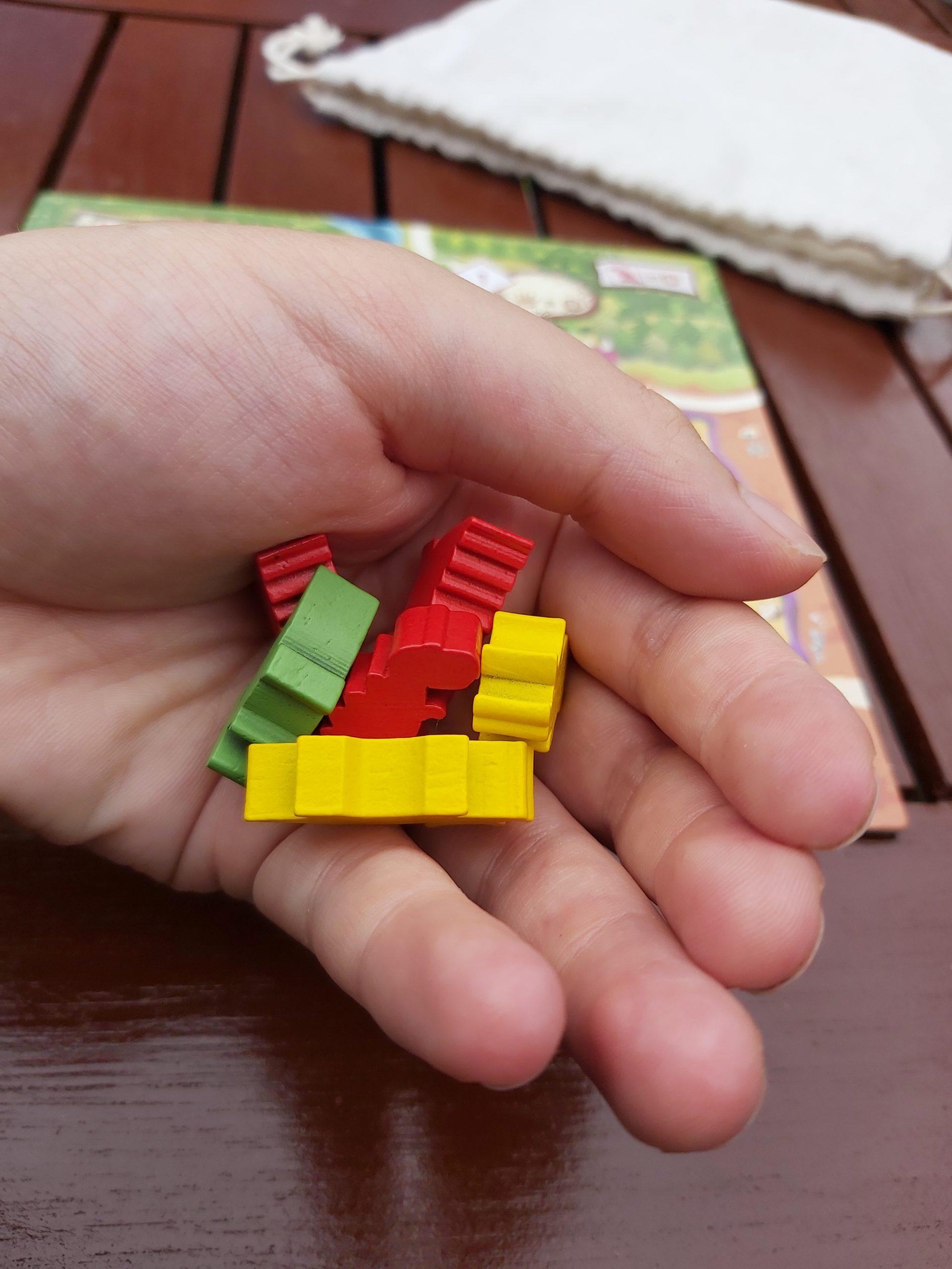 Zu sehen ist eine Hand, die verschiedene Dino Meeple hält