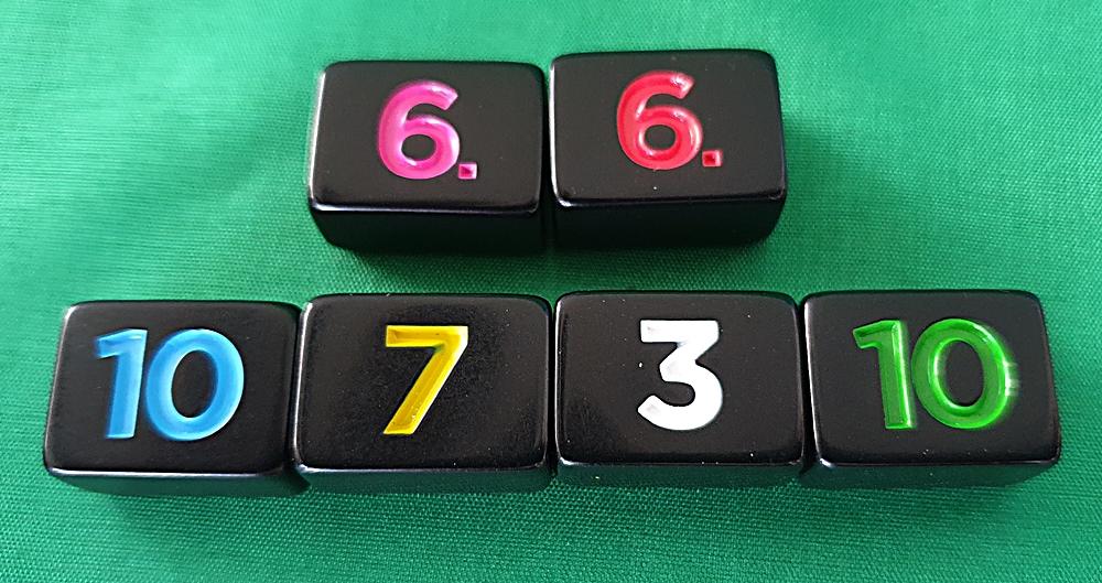 Sechs Steine in den sechs Farben
