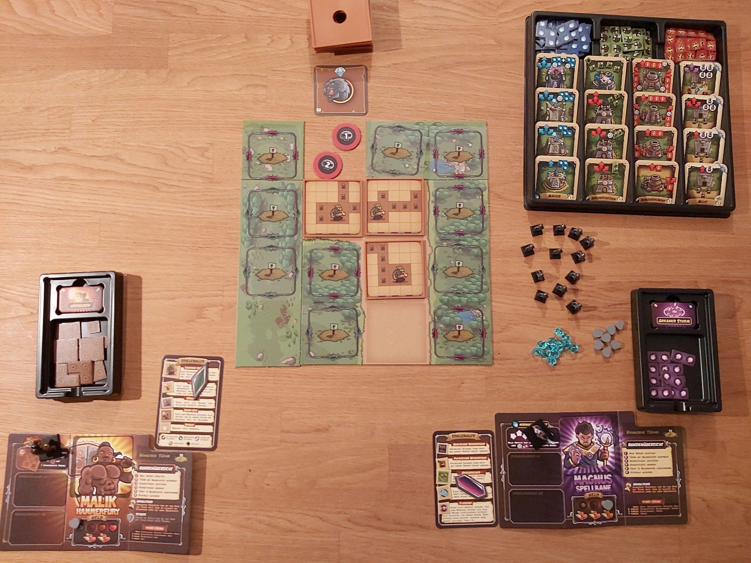 Zu sehen ist der Spielaufbau für 2 Spielende.