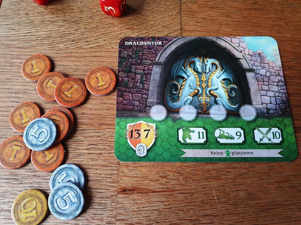 Die Endkarte, Spielmünzen aus Pappe