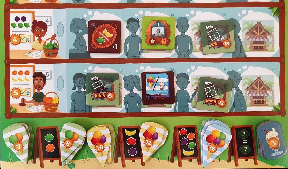 Ein Teil des Haupt-Spielplans mit Gewerbeplättchen und Eistütenplättchen