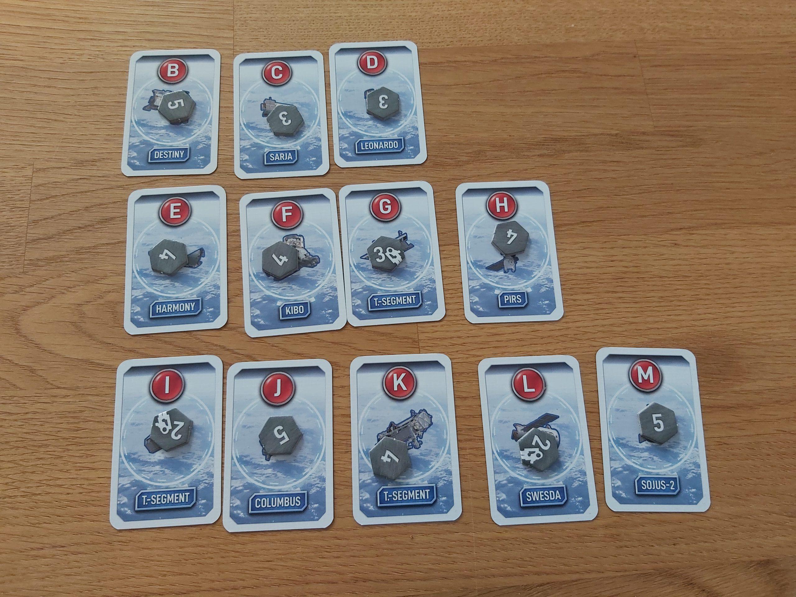 Zu sehen sind die Modulkarten von Mission ISS.